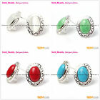 Fashion stud earrings oval white red blue beads tibetan silver leverback hoop