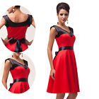 Hot Red 1950's Vintage Rockabilly Swing Prom Cocktail Dress new JS Grace Karin