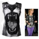 LADIES LION PRINT VEST WOMENS TOP 8 10 12 14 2 COLOURS