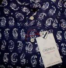 -CREMIEUX French Blue Paisley Cotton Short Sleeve Mens Shirt NWT F-596 Rt $79.50