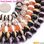 "10mm round faceted banded agate jewelry making loose beads strand 15"" 5 colors"