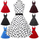 New Ladies 1950s Vintage style Polka Dot Dress Rockabilly Cotton Swing Tea Dress