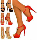 NEW Womens High Heel Shiny Crystal Ankle Strap Peep Toe Shoes Party Sandals Size