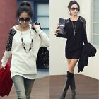 Hot Casual Womens Loose Leopard Print Batwing Long T-shirt Blouse Mini Dress