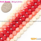 "6mm coin coral gemstone jewelry making loose beads strand 15""  white pink red"