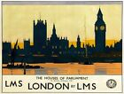 TX330 Vintage Houses Of Parliament London LMS Railway Travel Poster A2/A3/A4