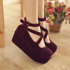 Fashion Womens Ankle Cross Strap Goth Chunky Platform Heels Velvet Bootie Shoes