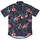 DEUS EX MACHINA BELBIN SHORT SLEEVE SHIRT BLACK HIBISCUS PRINT