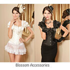CC54 Brocade Satin Steel Boned Blouse Corset Top Retro Rockabilly Pin Up Costume