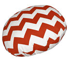 ae329n Red OffWhite Zig Zag Chevon Cotton Canvas Round Cushion Cover Pillow Case