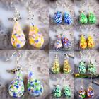 Pair Colorful Murano Lampwork Glass Drop Beads Dangle Hook Ear Earrings Jewelry