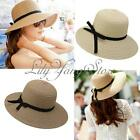 Fashion Women Chic Straw Wide Large Brim Derby Cap Summer Straw Beach Sun Hat