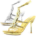 Women Open Platform High Heel T-Strap Rhinestone Metallic Evening Dress Sandal