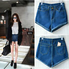 Fashion Hot  Retro Denim High Waist Flange Blue Jean Pants Shorts