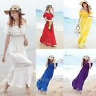 Womens Boho Bohemian Long Maxi Chiffon Beach Summer Ruffle Dress Off Shoulder