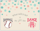 25 GENDER REVEAL Girl Boy BABY SHOWER PARTY INVITATIONS Flat Cards