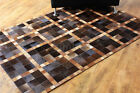 bunkar's Handmade Natural Cowhide Leather Modern Area Rugs, Style Rubik's 2D