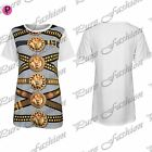 Womens Ladies Lion Face New Celebrity Gold Chain Oversize Baggy T Shirt Long Top