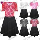 Womens Ladies Short Sleeves Belted Contrast Lace Flared Skater Dress Plus Size