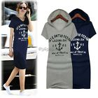 Women Cotton Letter Print Slim Hoodies Short Sleeve Long T-Shirt Dress Size S M