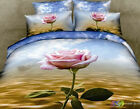 Home TextileRose Print Bedding3DOilPainting Red RoseFlower Bedding Set,Queen 4pc