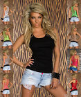 Sexy Women's Fitted Ringer Top Patterned Crochet Lace Tank Top Vest Tshirt