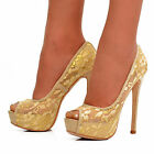 NEW Ladies Beige Gold Lace Floral Peep Toe Heels Shoes Evening Prom Pumps Size