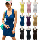 Lady Long Bodycon Button Sport Vest Sleeveless Maxi Gym Tops Mini Dress Sundress