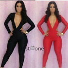 Chic Women Lady Long Sleeve Sexy Deep V Trousers Night Club Slim Fit Jumpsuit