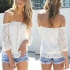 New Sexy Womens White Lace Off-shoulder Loose Tops Fashion Casual T-Shirt Blouse
