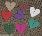 CLEARANCE - 100/250 ASSORTED COLOUR WOODEN HEART BUTTONS - 23MM (851) #CRAFTS