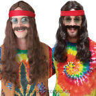 W124 Hippie Man Long Groovy 60s 70s Mens Costume Wig & Moustache