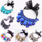New Fashion Ribbon Rainbow Big Rhinestone Ribbon Collar Bib Statement Necklace