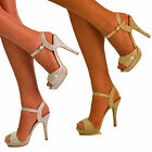 NEW Ladies Sparkly Diamante Rhinestone Ankle Strap Sandals High Heel Shoes Size