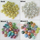 450Pcs Gold Silver Mixed Acrylic Flower Spacer Beads Charms 7mm