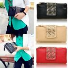 New Womens Card Coin Holder Rivet ZIP Wallet Leather Wallet Clutch Purse Handbag