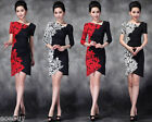Women's Rose Pattern Mini Skirts Stretch Rayon Above Knee Dress Size S~3XL Y001