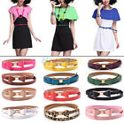 GIRL COOL CANDY COLOR BIG BOWKNOT PU LEATHER THIN SKINNY WAISTBAND BELT BJ8K