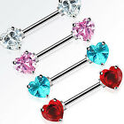 Nipple Bar with Heart Cubic Zirconia Crystals - Choose Colour