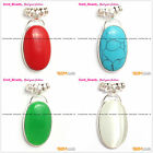 New beauty silver pendant 23x48mm with 20x34mm oval beads+Free gift box/chain