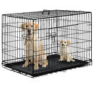 "Black 30"" 2 Doors Pet Folding Suitcase Dog Cat Crate Cage Kennel Pen w ABS Tray"
