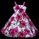 w801 w8 UkG Whites Magenta Pink X'mas Halloween Party Flower Girls Dress 2,3-12y