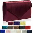 New Women Pleated Satin Diamante Clutch Bridal Party Prom Ladies Evening Bags UK