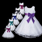 w999 g5 AuG White Purple Bridesmaid Wedding Halloween Flower Girls Dress 2,3-12y