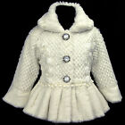 Cream/Beige/Ivory i216 j3 UkG Fancy Dance X'mas Party Faux Fur Girls Coat 2-7y