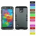 For Samsung Galaxy S5 Metallic Gray Hybrid Rugged Impact Armor Phone Case Cover