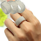 Lady Sterling Silver Net Mesh Band Jewelry Wedding Ring Bridal Solid Size 7 8 9
