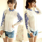 New Women Long Sleeved Retro Porcelain Printed Shirt Blouse White Chiffon Tops
