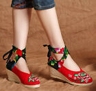 Beijing style women round toe ankle cross strap embroidered high heel shoes A182