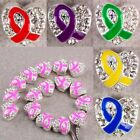 Wholesale Crystal Rhinestone Enamel Ribbon Awareness Heart Big Hole Loose Beads